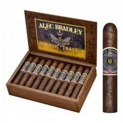 Alec Bradley Magic Toast Robusto einzelne Zigarre und offene Kiste im Hintergrund