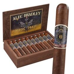 Alec Bradley Magic Toast Gordo einzelne Zigarre und Kiste im Hintergrund